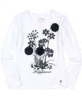 Le Chic Girls' Long Sleeve Top with Flowers