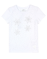 Le Chic Girls' T-shirt with Rhinestones in White