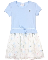 Le Chic Girls' Embroidered Tulle Dress in Blue