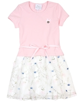 Le Chic Girls' Embroidered Tulle Dress in Pink