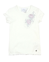 Le Chic Girls' T-shirt with Embroidered Flower in White