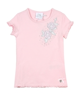 Le Chic Girls' T-shirt with Embroidered Flower in Pink