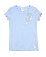 Le Chic Girls' T-shirt with Embroidered Flower in Blue