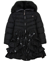 Le Chic Coat with Ruffles in Black