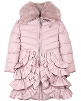 Le Chic Coat with Ruffles in Dusty Pink