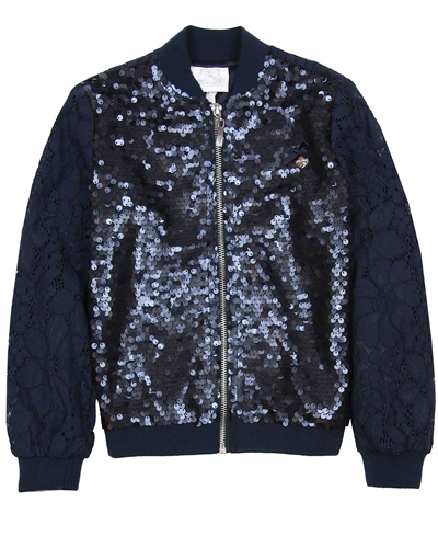 Le Chic Lace and Sequin Bomber Jacket