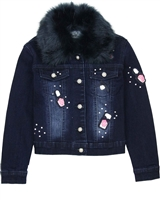 Le Chic Denim Jacket with Fur Collar