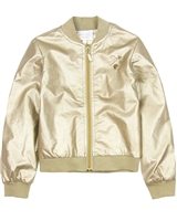 Le Chic Gold Pleather Bomber Jacket