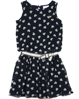 Le Chic Chiffon Dress in Hearts Print