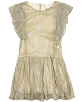 Le Chic Gold Pleated Dress