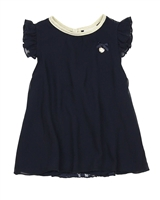 Le Chic Chiffon and Lace Blouse in Navy