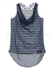 Le Chic Striped Top with Chiffon Front Navy