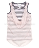 Le Chic Striped Top with Chiffon Front Pink