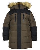 Lisa-Rella / Yakut Boys' Down Coat with Fur Trim Brown