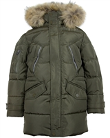 Lisa-Rella Boys Goose Down Parka Coat with Real Fur Trim