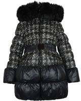 Lisa-Rella Girls' Plaid Print Down Coat with Fur Trim