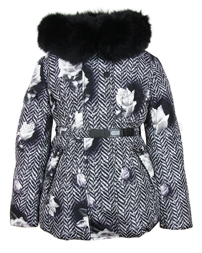 Lisa-Rella Girls' Floral Print Down Jacket with Real Fur Trim