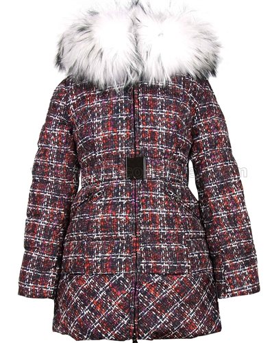 Lisa-Rella Girls' Quilted Down Coat with Real Fur Trim in Tweed Print