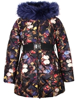 Lisa-Rella Girls' Quilted Coat in Butterfly Print with Fake Fur