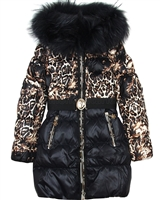 Lisa-Rella Girls' Quilted Down Coat with Real Fur Trim Leopard Print