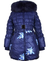Lisa-Rella Girls' Quilted Down Coat with Fake Fur Trim Roses Print