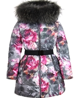 Lisa-Rella Girls' Quilted Down Coat in Gray Floral Print