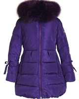 Lisa-Rella Girls' A-line Quilted Down Coat in Purple