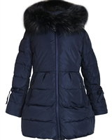 Lisa-Rella Girls' A-line Quilted Down Coat in Navy
