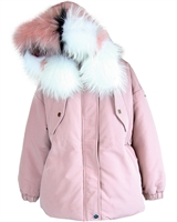 Lisa-Rella Girls' Dusty Pink Goose Down Parka with Real Fur Trim