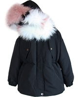 Lisa-Rella Girls' Black Goose Down Parka with Real Fur Trim