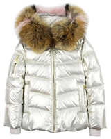 Lisa-Rella Girls' Silver/Gold Goose Down Coat with Real Fur Trim