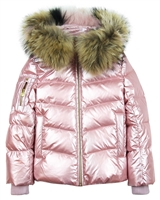 Lisa-Rella Girls' Pink Goose Down Coat with Real Fur Trim