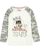 Losan Boys T-shirt with Camo Print Sleeves