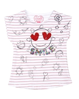 Losan Girls Striped T-shirt with Print