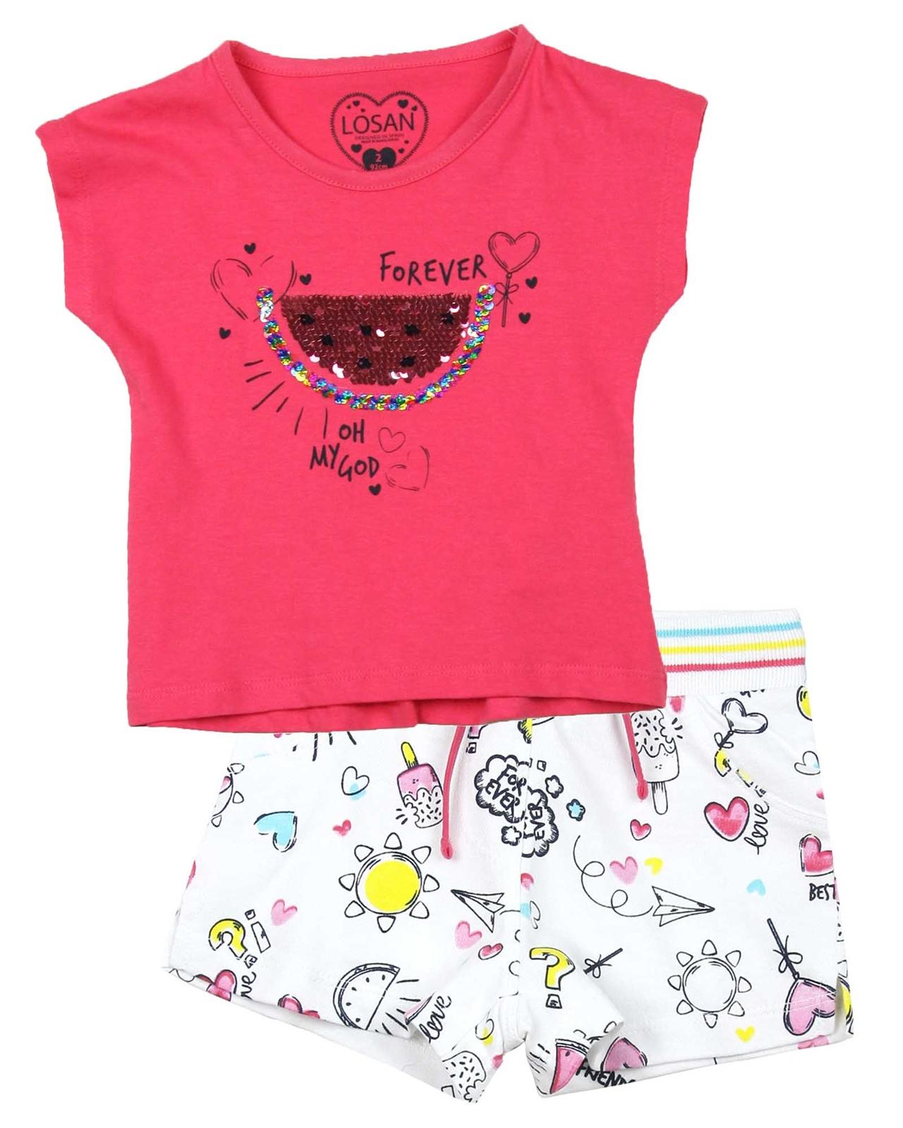 8a25d3430347c Losan Girls T-shirts and Printed Shorts Set - Losan - Losan Spring ...