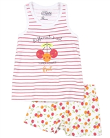 Losan Girls Pyjamas in Stripe and Cherry Print