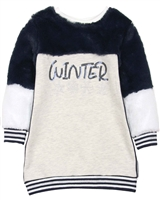 Losan Girls Faux Fur and Terry Dress with Tights