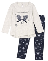 Losan Girls T-shirt with Mittens and Fleece Leggings Set