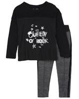 Losan Girls T-shirt with Mesh and Plaid Leggings Set