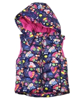 Losan Girls Puffer Vest in Patchwork Heart Print