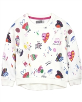 Losan Girls Sweatshirt in Patchwork Heart Print