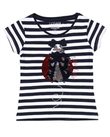 Losan Girls Striped T-shirt with Ladybug