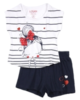 Losan Girls T-shirt and Navy Shorts Set