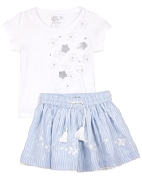 Losan Girls T-shirt and Striped Skirt Set