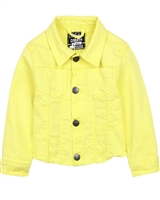 Losan Girls Yellow Denim Jacket with Frayed Hem
