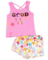 Losan Girls Tank Top and Star Print Shorts Set
