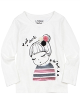 Losan Girls T-shirt with Girl Applique