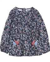 Losan Girls Blouse in Small Floral Print with Tassels