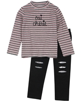 Losan Girls Striped Top and Fleece Leggings Set