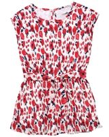 Losan Girls Chiffon Plisse Dress in Poppy Print